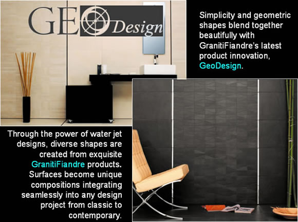 Simplicity and geometric shapes blend together beautifully with GranitiFiandre's latest product innovation, GeoDesign. Through the power of water jet designs, diverse shapes are created from exquisite GranitiFiandre products . Surfaces become unique compositions integrating seamlessly into any design project from classic to contemporary.