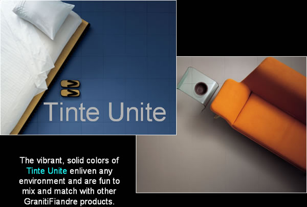 The vibrant, solid colors of Tinte Unite enliven any environment and are fun to mix and match with other GranitiFiandre products.